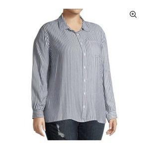 Terra & Sky Striped Button Down Shirt Top Blouse